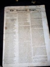 RARE ANTIQUE NEWSPAPER THE AMERICAN EAGLE VERA CRUZ MAY 5th 1847 VOL 1 No 13